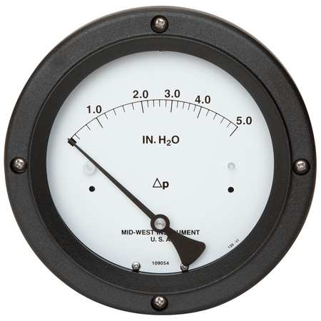 MIDWEST INSTRUMENT 130-0113 Pressure Gauge, 0 to 5 In H2O