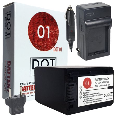 DOT-01 Brand 4200 mAh Replacement Sony NP-FH100 Battery and Charger for Sony A390 Digital SLR Camera and Sony FH100