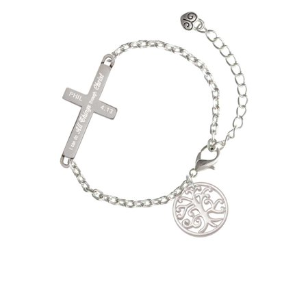 Silvertone Tree of Life Cutout - I Can Do All Things - Cross Bracelet