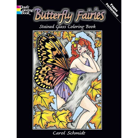 Dover Butterfly Fairies Stained Glass Coloring Book - 32 Pages (Coloring Page Butterfly)
