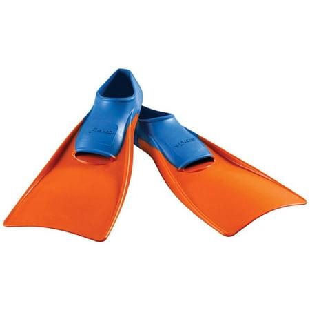 Floating Swim Fins - FINIS Long Floating Fin Jr. in Blue/Orange, Size 11-1