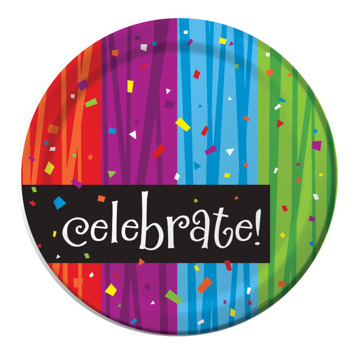 "Club Pack of 96 Milestone Celebrations ""Celebrate"" Disposable Paper Party Banquet Dinner Plates 9"""