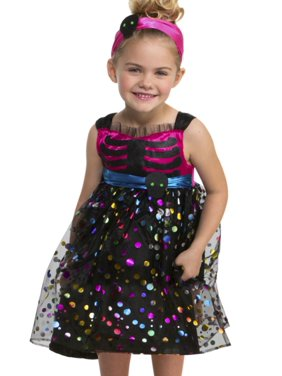 b66bfa22a44 Free shipping. Product Image Toddler Girls Sweet Skeleton Costume with  Polka Dot Dress   Headband