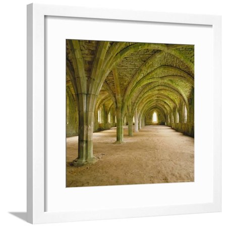 Cistercian Refectory, Fountains Abbey, Yorkshire, England Framed Print Wall Art By Michael Jenner - Halloween Fountains Abbey