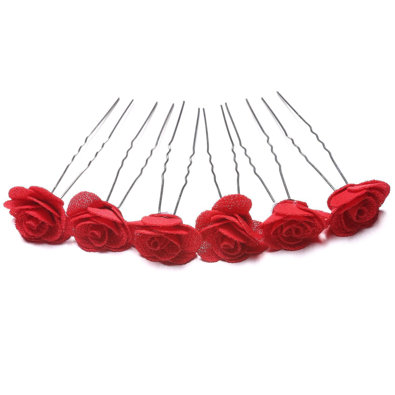 2019 The Newest! 6pcs  U Shaped Hair Pins Rose Flower Waved U Shaped Hair Pins Grips Bobby Pin Salon Wedding Bridesmaid Accessory HFON