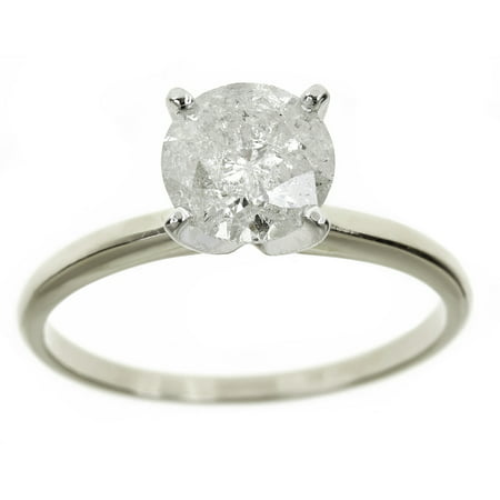 Genuine Pear Diamond Solitaire (2 Carat T.W. Genuine Round White Diamond 14kt White Gold Solitaire Ring, IGL Certified )