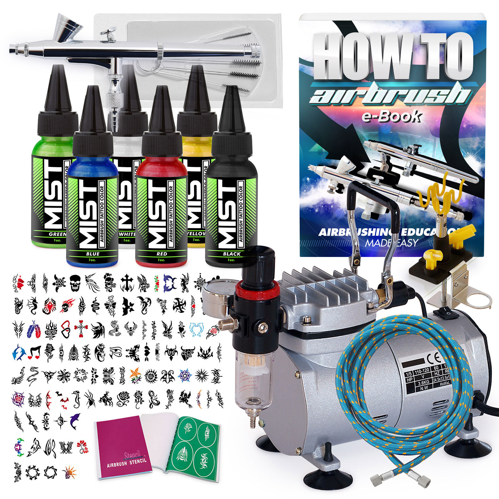 PointZero Complete Temporary Tattoo Airbrush Set - 6 Colo...