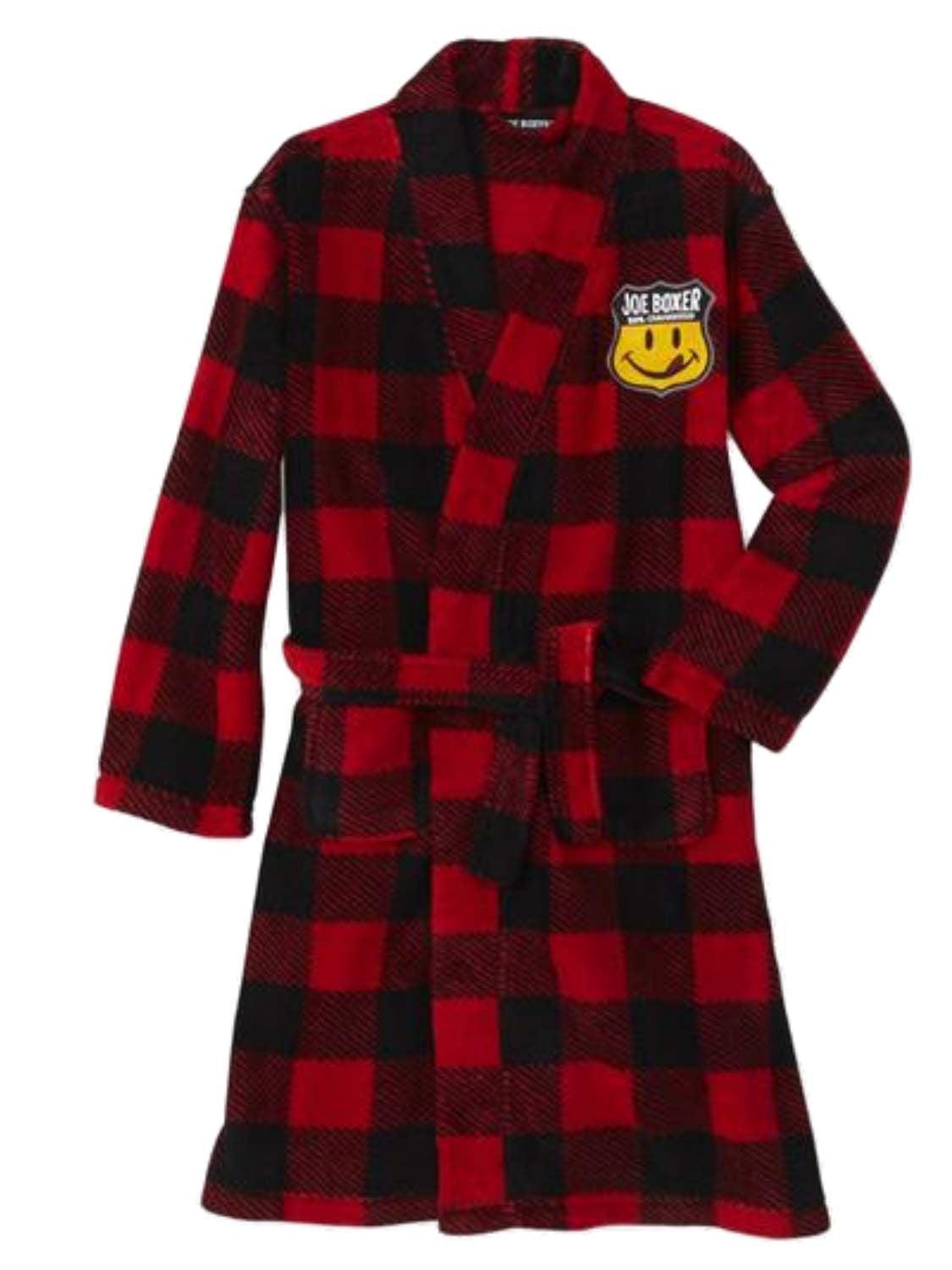 Joe Boxer Boys Red Plaid Plush Bath Robe Fleece House Coat