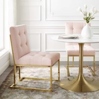 Privy Gold Stainless Steel Performance Velvet Dining Chair in Gold Pink