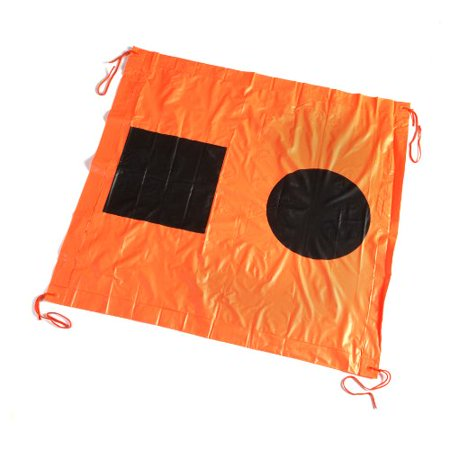 78341 3-Foot S.O.S. Distress Signal Flag, Black circle and square printed on international orange flag By SEACHOICE - International Code Signal Flag