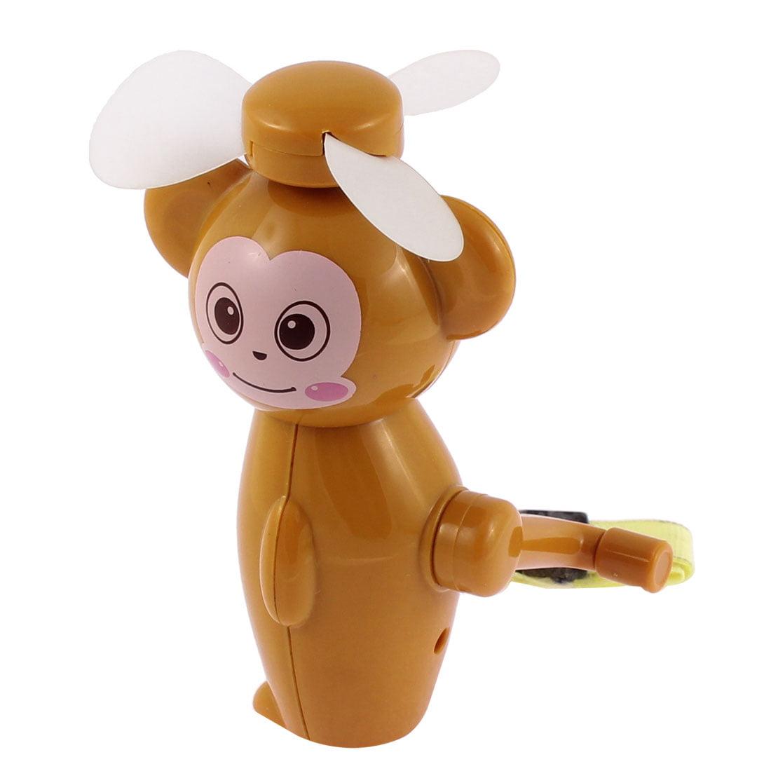 Handheld Plastic Monkey Design Hand Crank Mini Cooling Fan Cooler Brown