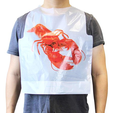 [50 Pack] Disposable 20 Inch Adult Poly Lobster Bibs to Protect Clothes, for Crab Feasts, Seafood Restaurants, Crawfish Parties and Special Events (Lobster Bib)