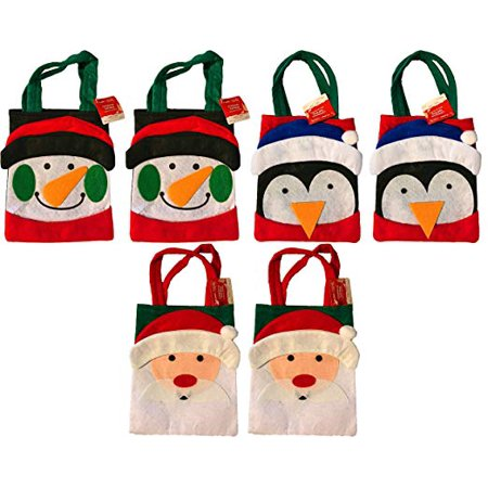 Christmas Felt Handmade Santa, Snowman, Penguin Treat Gift Bags (Set of 6)  - Handmade Christmas Gift