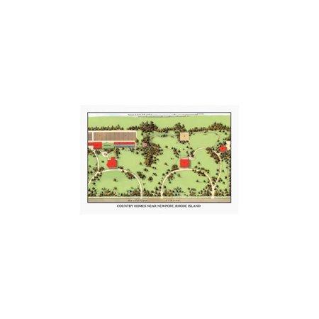 Country Homes Near Newport, Rhode Island Print (Unframed Paper Print 20x30)