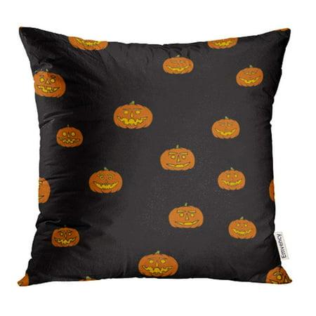 CMFUN Autumn Jack O Lantern Halloween Cartoon Carving Doodle Evil Expression Face Pillow Case Pillow Cover 18x18 inch Throw Pillow Covers - Halloween Expressions