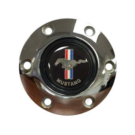 Volante Steering Wheels S6 Horn Button; w/Ford Mustang Black Running Pony Emblem; Chrome; (Mustang Pony Wheels)