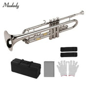Muslady Standard Bb Trumpet Brass Material Nickle Plated Wind Instrument with Mouthpiece Carry Bag Gloves Cleaning Cloth