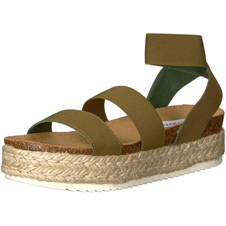 Steve Madden Womens Kimmie Open Toe Casual Espadrille Sandals, Olive, Size 8.0