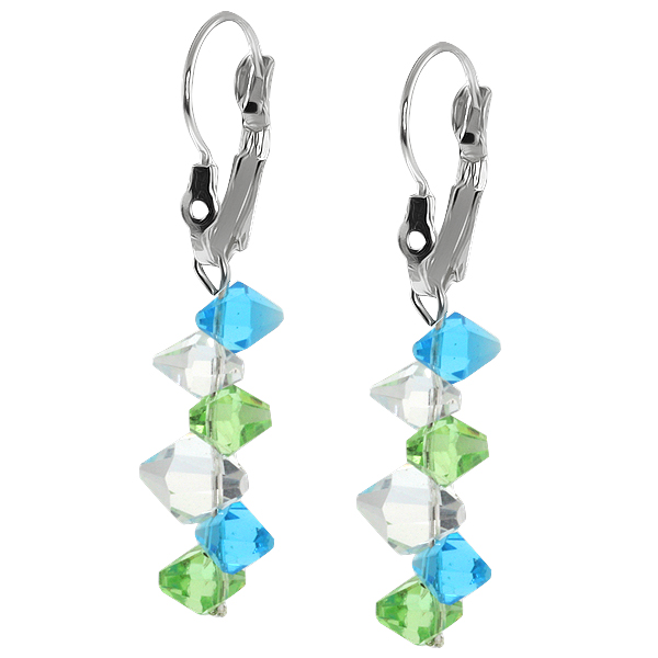 """2"""" Ocean Blue Green and White Faceted Crystal Dangle Hook Earrings For Women"""
