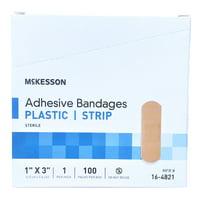 McKesson Plastic Adhesive Bandage Strips, 1 x 3 Inch - Box of 100