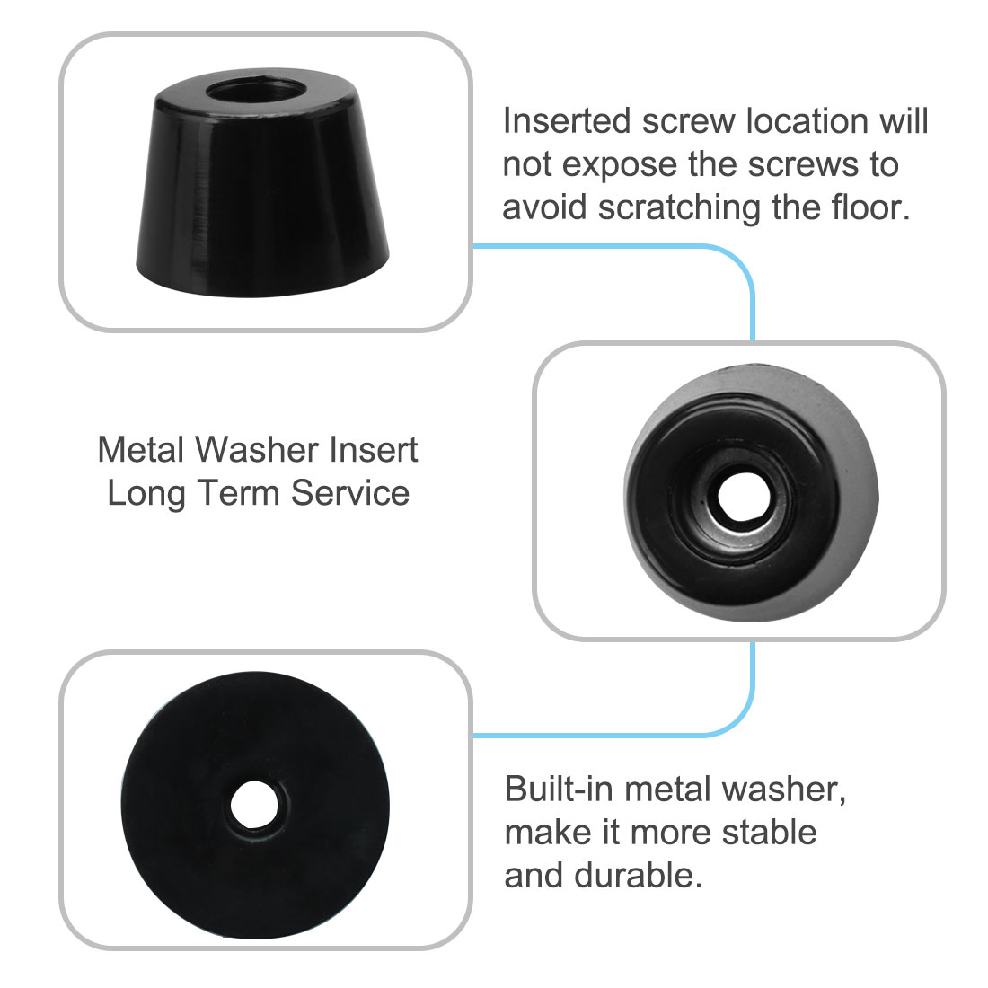16pcs Rubber Feet Bumper Buffer Chair Leg Pad with Metal Washer, D26x21xH18mm - image 5 de 7