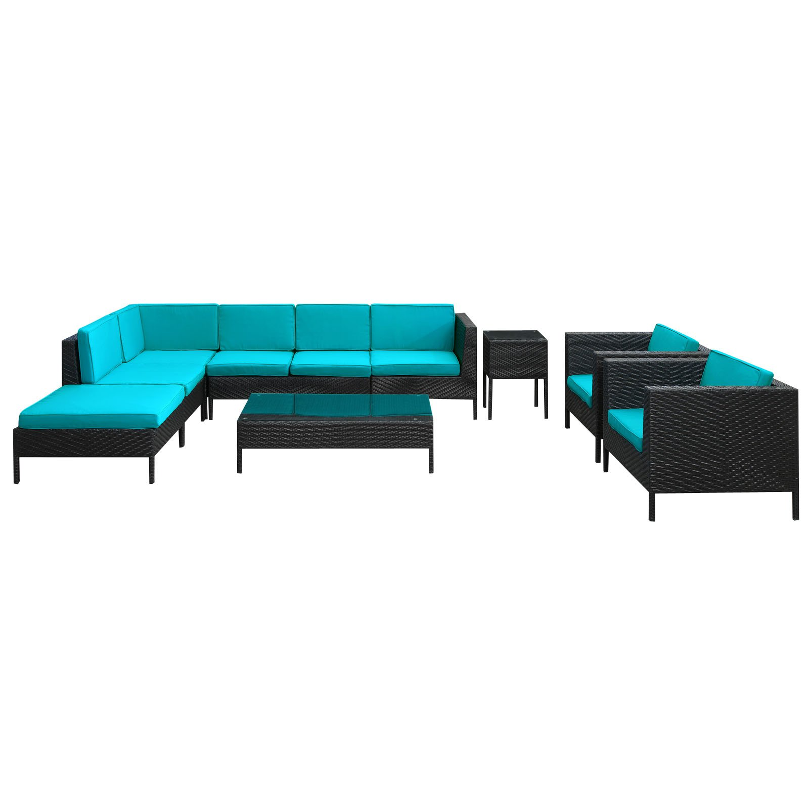 La Jolla All-Weather Wicker Sectional Conversation Set Seats 8 by R & M Industries Inc