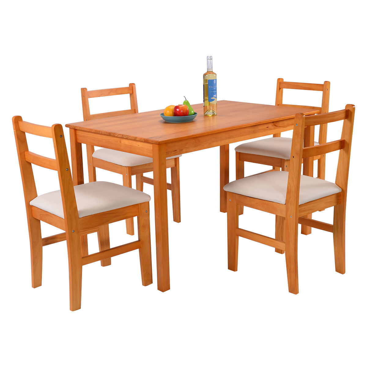 Click here to buy Costway 5 Pcs Pine Wood Dining Room Set Table And 4 Upholstered Chair Breakfast Furniture by Costway.