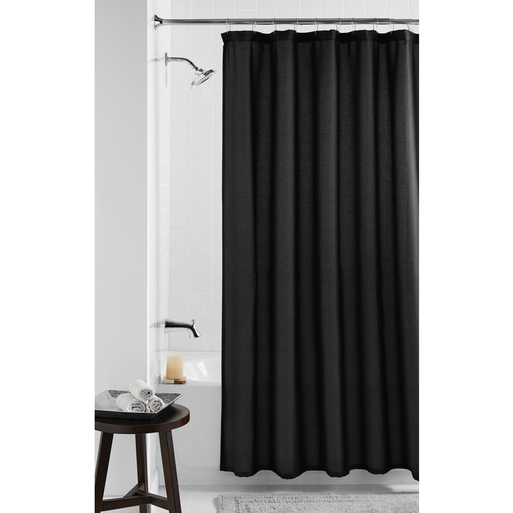 Mainstays Waffle Fabric Shower Curtain Black
