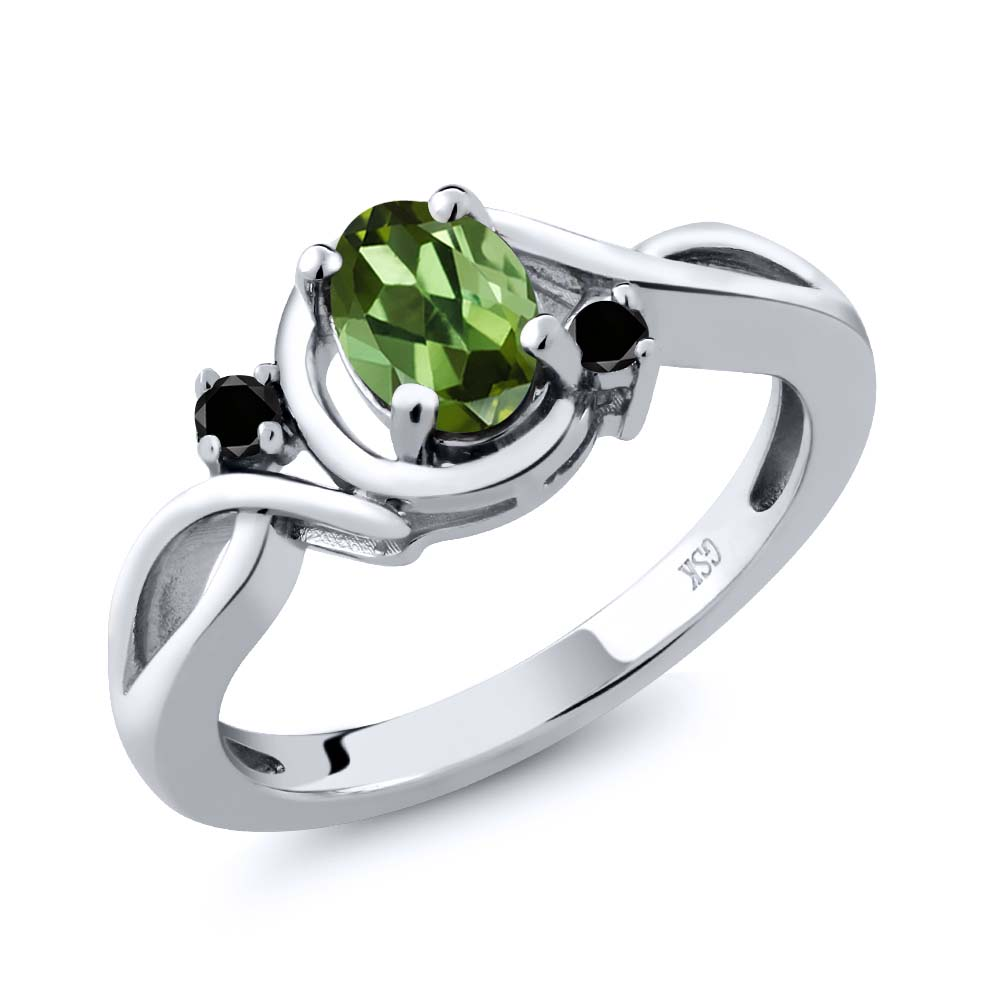 0.77 Ct Oval Green Tourmaline Black Diamond 925 Sterling Silver Ring by