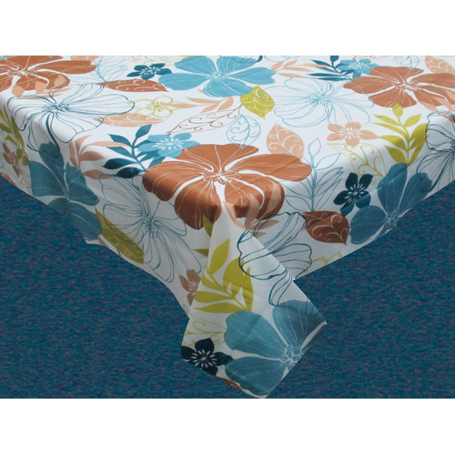 Carnation Home Fashions Summer Floral Flannel Backed Tablecloth