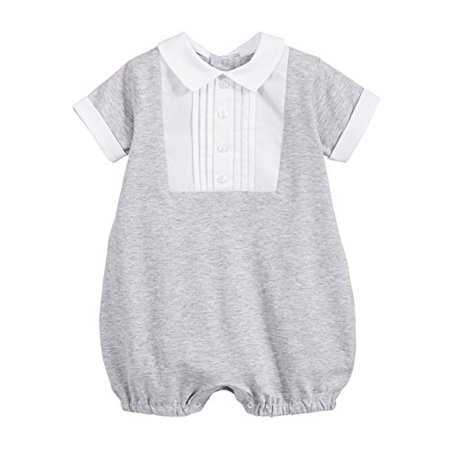 Classic Embroidered Romper - StylesILove Classic Baby Boy Short-Sleeves Romper Onesie (80/6-12 Months, Grey)