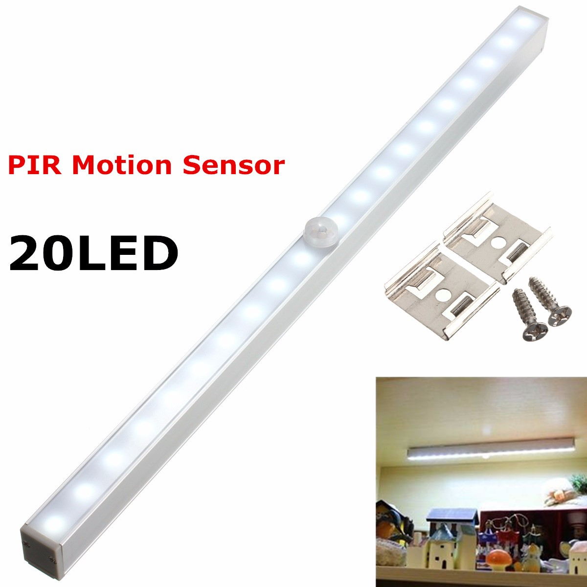 Kingso LED Cabinet Closet Light Wireless PIR LED Light Bar Motion Sensor Night Light Room