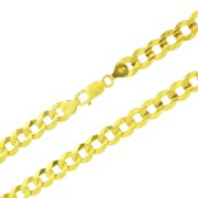 """14k Yellow Gold Mens Solid 10mm Cuban Curb Link Chain Necklace, 24""""- 30"""""""
