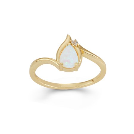 Pear Shaped Sapphire (Created Opal and Created White Sapphire 18KT Gold over Sterling Silver Pear-Shaped)