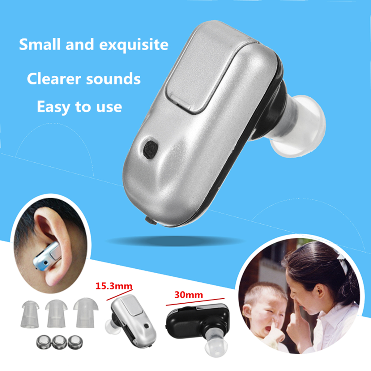 JZ-1088D Micro Plus Hearing Aid Device Sound Amplifier Mini In Ear Aids Adjustable Volume Tone Battery Aids for Elderly Deaf