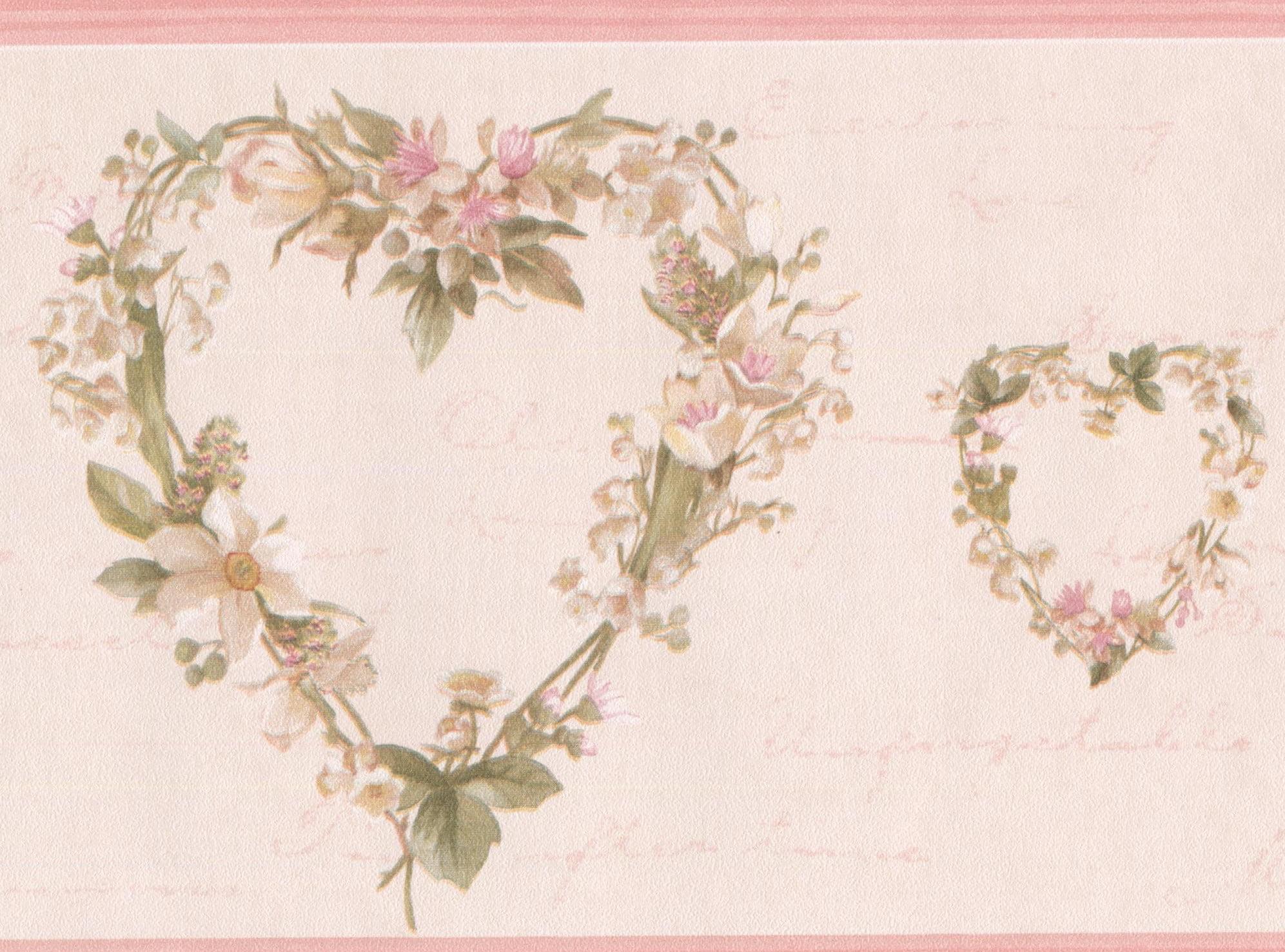 White Flower Wreath Heart Shaped Floral Wallpaper Border Retro