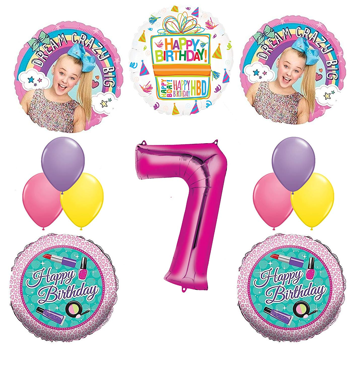 Jojo Siwa Party Supplies 7th Birthday Balloon Bouquet AMZ  LEECH