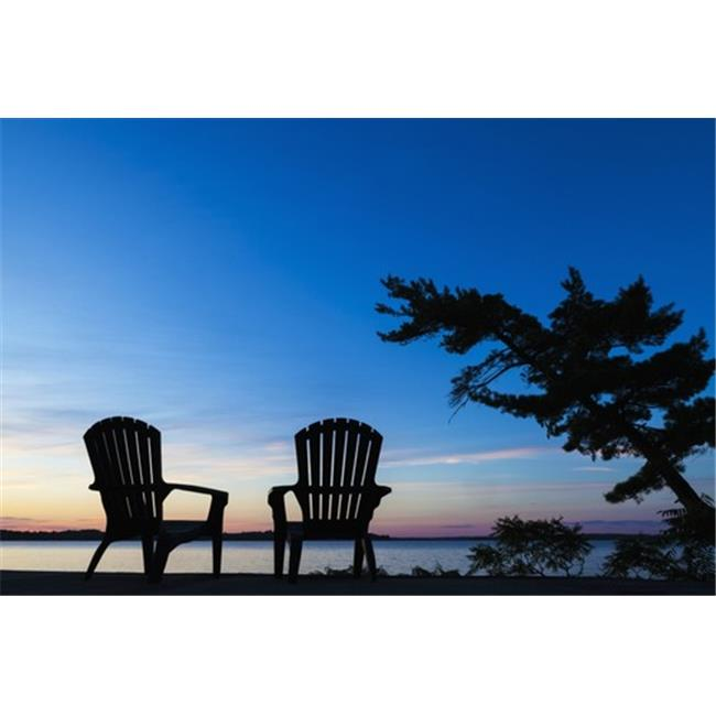 Silhouette of Muskoka Chairs & Balsam Lake At Sunrise - Ontario Canada Poster Print by Vast Photography, 38 x 24 - Large - image 1 of 1