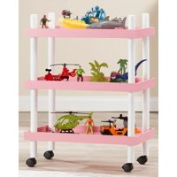 Mainstays Kids 3-Tier Blush Rolling Storage Cart, 1 Each