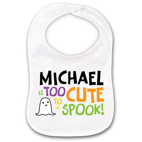 Personalized Too Cute to Spook Boy Ghost Bib