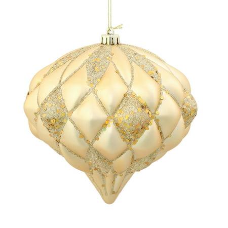 Vickerman 5.7'' Gold Matte-Glitter Diamond Ornament
