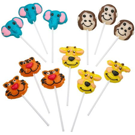 "2"" Zoo Animal Lollipops - Pack of 12 Assorted Fruit-Flavored Candy Suckers for Party Favors, Cake Decorations, Novelty Supplies or Treats for Halloween, Christmas, Baby Showers - Halloween Zoo Events"
