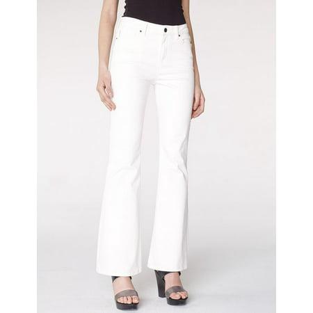 Armani Exchange Women's  Mid-Rise Flare Jeans White