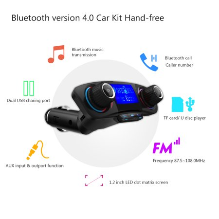 Eincar Bluetooth FM Transmitter for Car, Wireless Radio Transmitter Adapter with USB Port, Music Player Support Aux Output, TF Card and U-Disk, Hands Free for iPhone, Smartphones (Iphone Car Music Player)