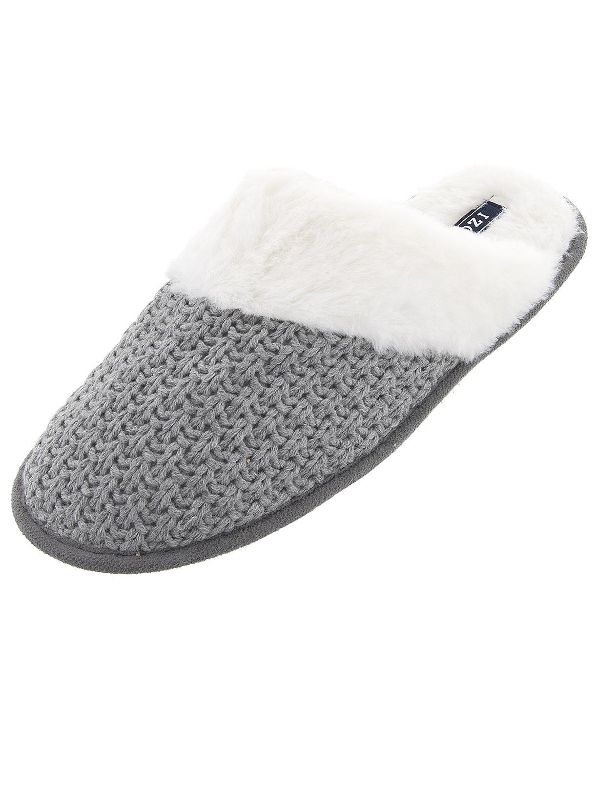 4f2050880dc4 IZOD - IZOD Womens Gray Knit Scuff Slippers - Walmart.com