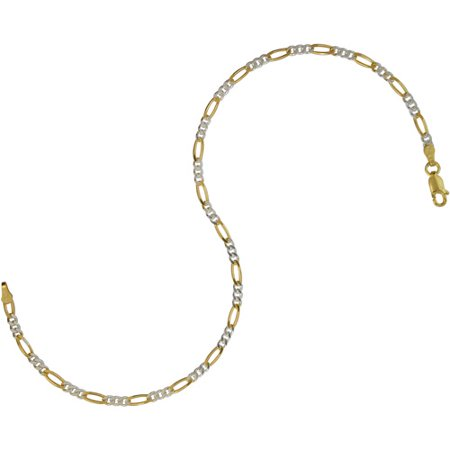 Women's Sterling Silver 080 Figaro Anklet, 10