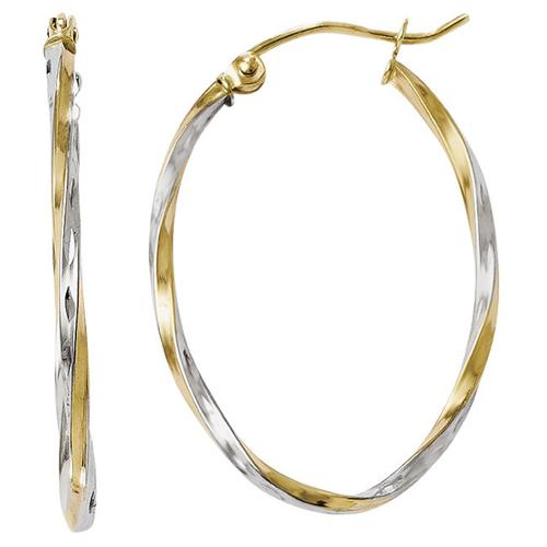 Versil Rhodium-plated 10k Yellow Gold Oval Hinged Hoop Earrings