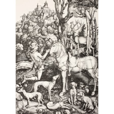 Saint Hubert In Adoration Before A Cross Carried By A Stag After An Engraving By Albert Durer From Les Artes Au Moyen Age Published Paris 1873 Stretched Canvas - Ken Welsh  Design Pics (12 x