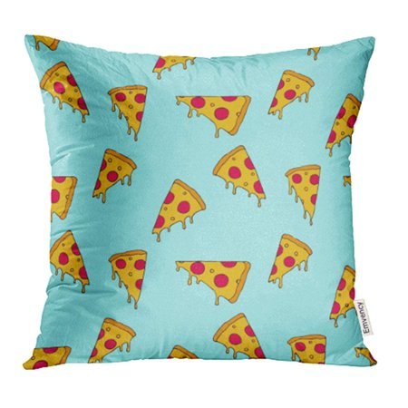 YWOTA Funny Pizza Slice Doodle Sketch Delivery Food Restaurant Pepperoni Graphic Pillow Cases Cushion Cover 20x20 inch