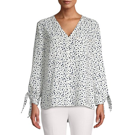 Dotted V-Neck Tie Sleeve Top